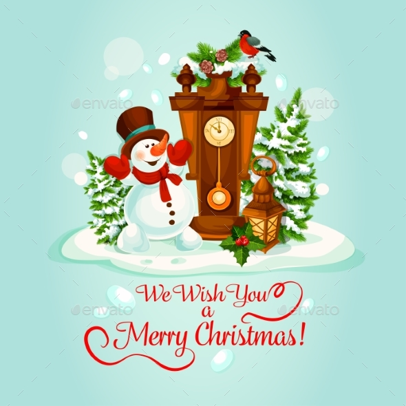 Christmas Holiday Poster With Snowman And Clock