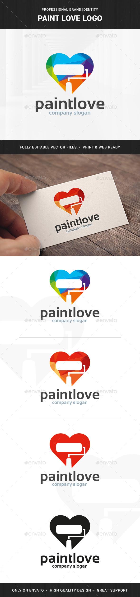 Paint Love Logo Template