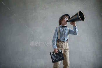 Boy with a megaphone
