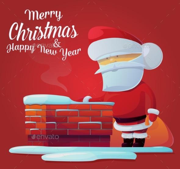 Santa Claus Near Chimney on Roof