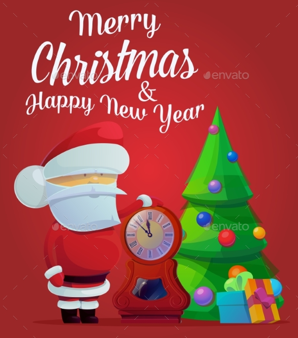 New Year Santa Claus with Fir Tree and Decorations