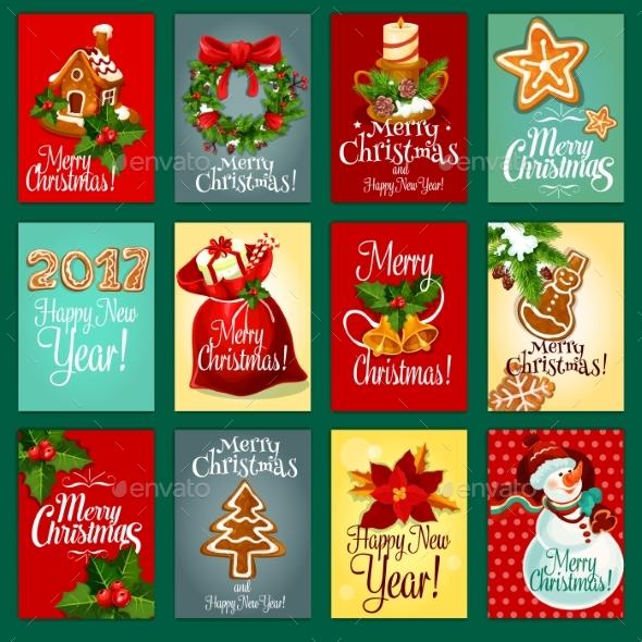 Christmas And New Year Holiday Greeting Card Set