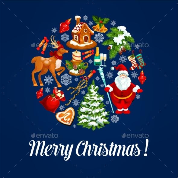 Christmas Ball Silhouette With Xmas Symbols
