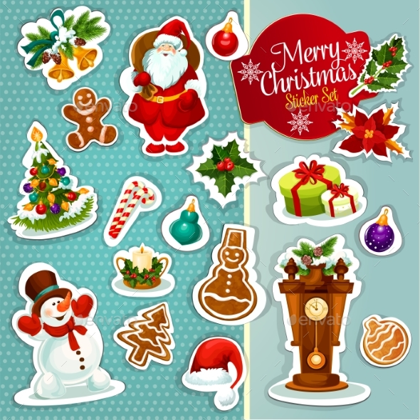 Christmas Sticker Icon Set For Xmas Design