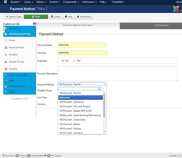 Webmoney payment gateway Plugin for Virtuemart