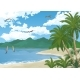 Sea Landscape With Palms And Surfers - GraphicRiver Item for Sale