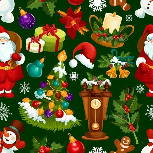 Christmas Holiday Seamless Pattern Background