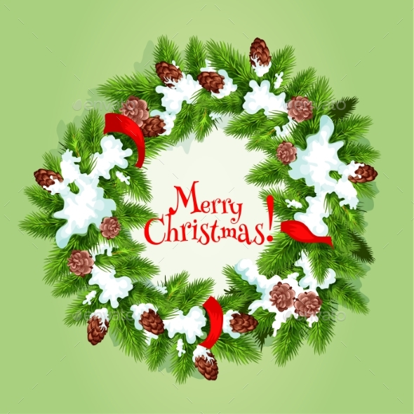 Christmas Tree Wreath with Snow Card Design