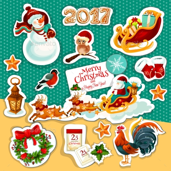 Christmas and New Year Winter Holidays Sticker Set