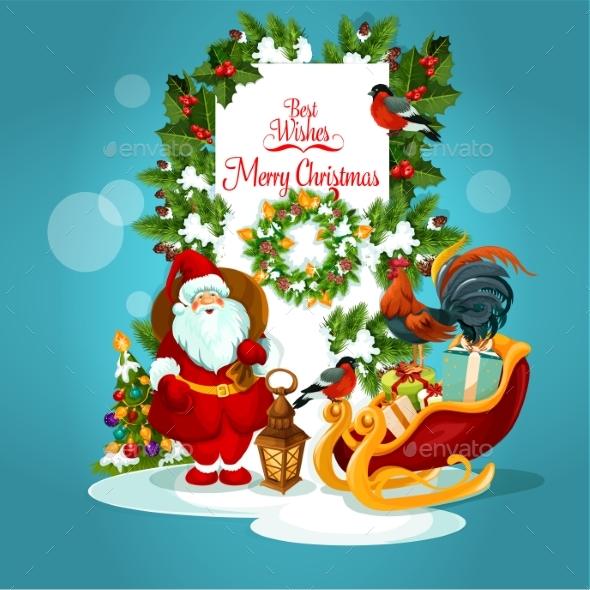 Christmas Greeting Card with Santa and Xmas Tree