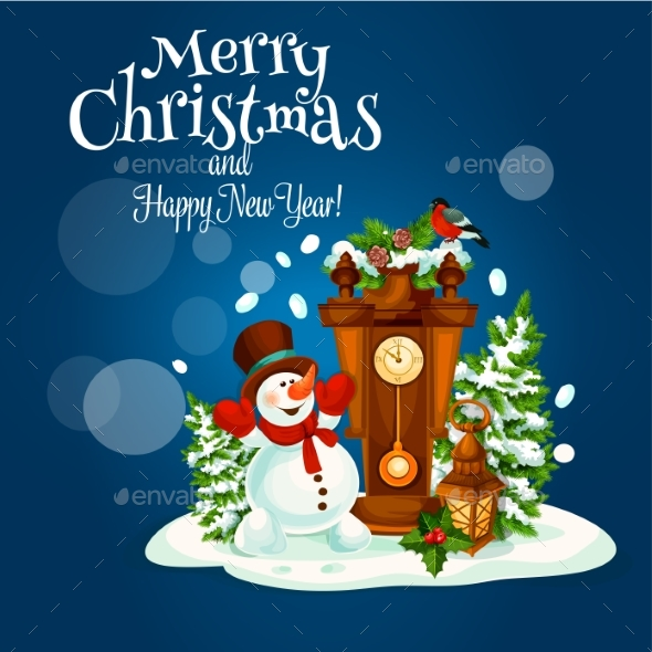 Christmas and New Year Poster with Snowman