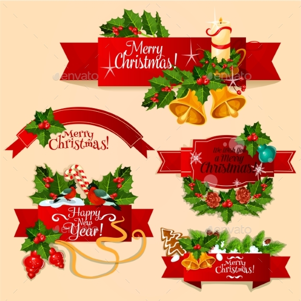 Christmas and New Year Red Ribbon Banner Set