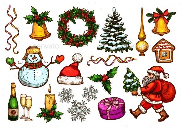 Christmas Day, New Year Celebration Sketch Set