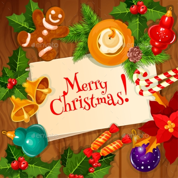 Christmas Day and New Year Greeting Card Design