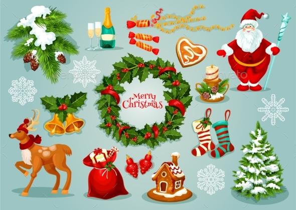 Christmas Day Holidays Celebration Icon Set