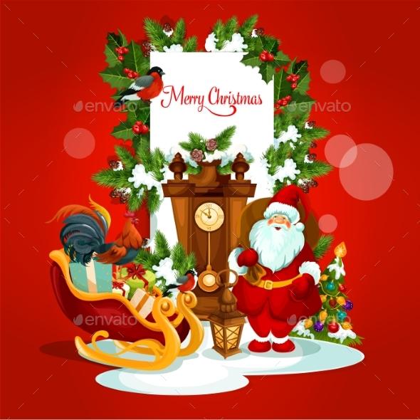 Christmas Greeting Card with Santa and Gift