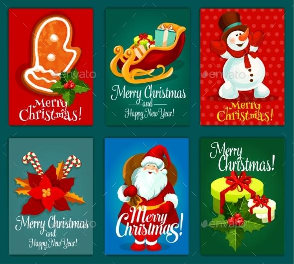 Christmas and New Year Holidays Greeting Card Set