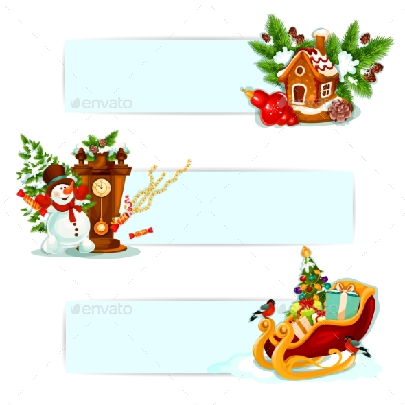 Christmas and New Year Winter Holidays Banner Set