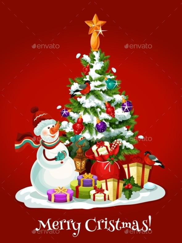 Christmas Holidays Card with Snowman