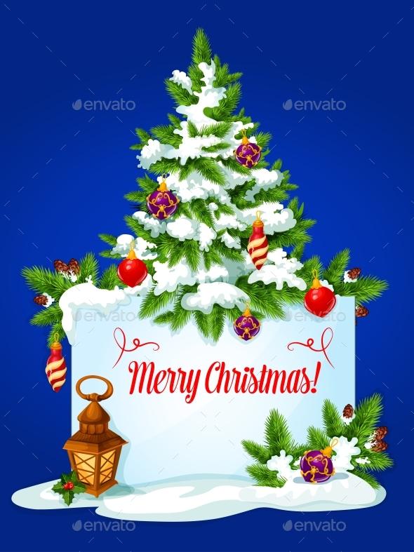 Christmas Tree Winter Holidays Greeting Card