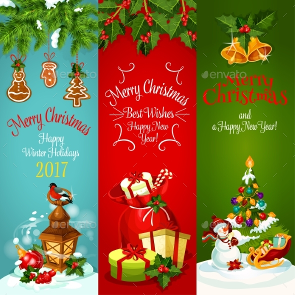 Christmas, New Year Holidays Greeting Banner Set