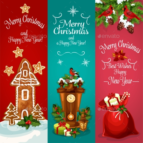 New Year And Christmas Day Holidays Banner Set