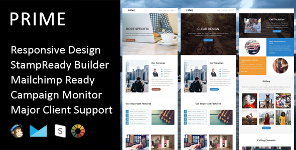 Prime - Multipurpose Responsive Email Template + Stampready Builder