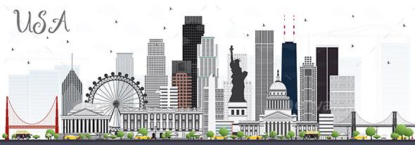 USA Skyline with Gray Skyscrapers and Landmarks