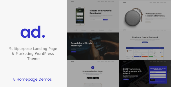 Product | APP Landing Page WordPress Theme - Advent