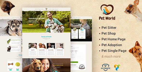 Pet World - Kittens, Birds & Animal Care WordPress Theme
