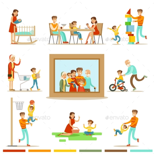 Happy Family Doing Things Together Illustration
