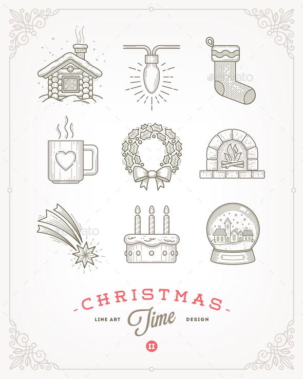 Set of Christmas Signs and Symbols