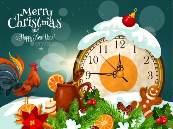 Merry Christmas, Happy New Year Greeting Card