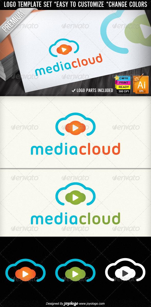 Music & Video Play Media Cloud Logo Designs
