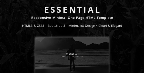 Essential - Responsive Minimal One Page HTML Template