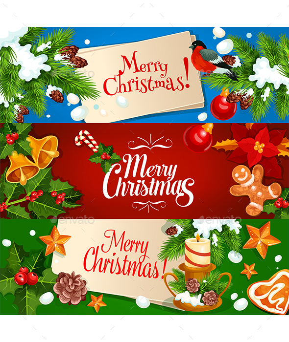 Merry Christmas Banner and Greeting Card Set