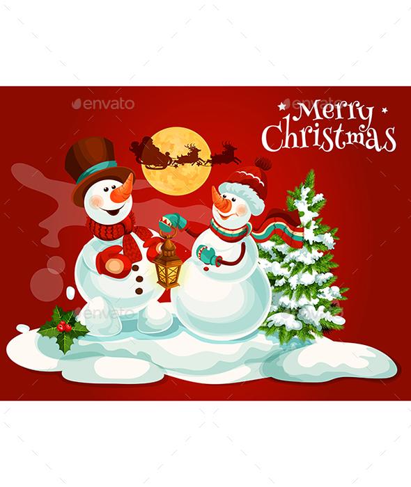 Christmas Snowman With Lantern Greeting Card