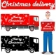 Christmas And New Year Delivery. Set Of Delivery Trucks And Deliveryman Hold The Box. - GraphicRiver Item for Sale