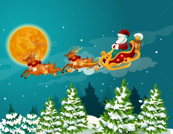Santa Sleigh with Reindeer Christmas Poster Design