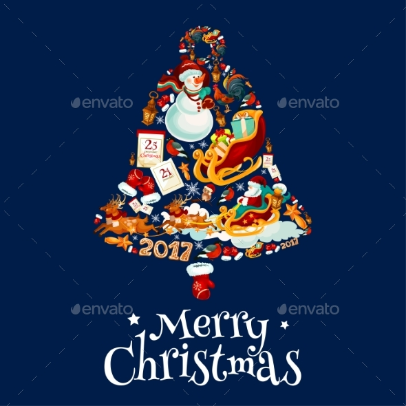 Christmas Bell with New Year Symbols Poster Design