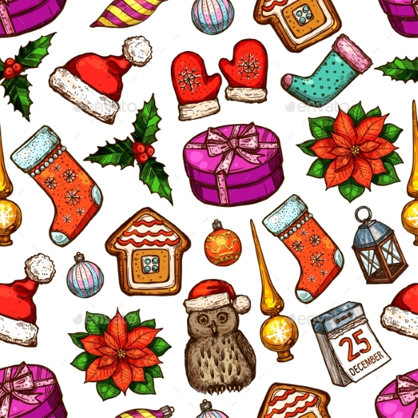 Christmas Gifts Seamless Pattern Background