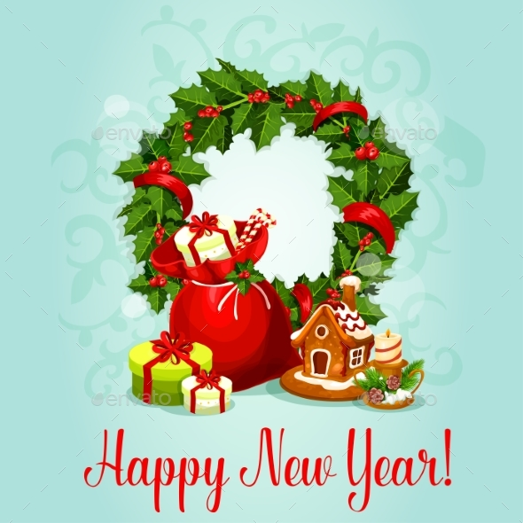 New Year Design with Holly Wreath and Gift
