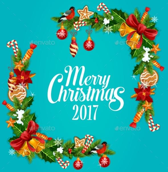 Christmas Tree, Holly Berry Garland Frame Design