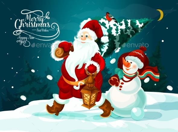 Santa and Snowman with Xmas Tree and Gifts Card