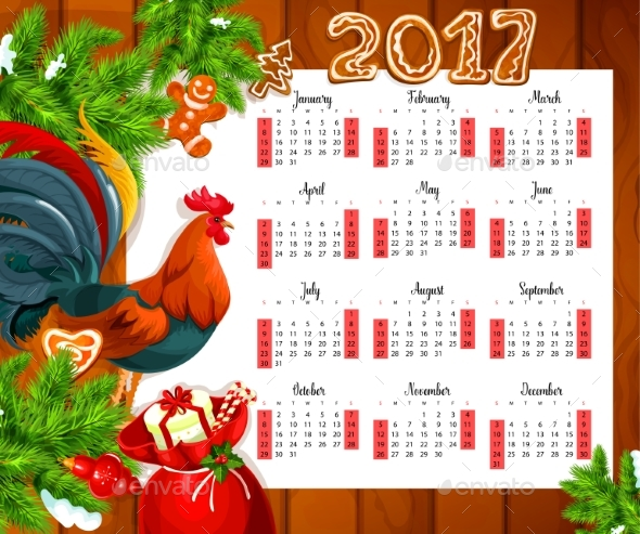 Christmas Calendar on Wooden Background