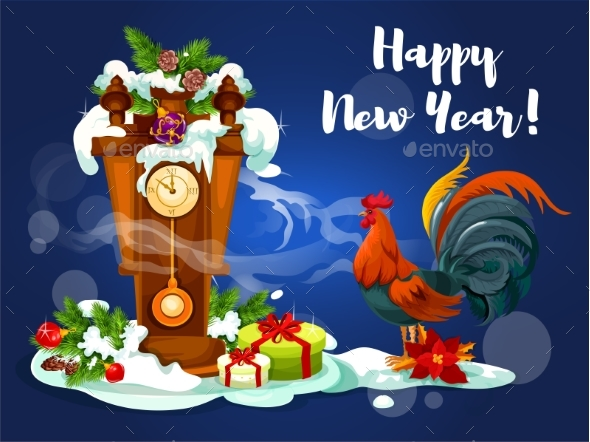 Chinese New Year Rooster with Clock