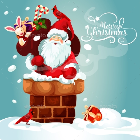 Christmas Card of Santa with Gift Bag on the Roof