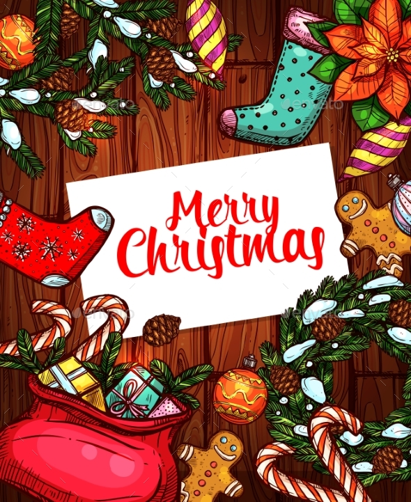 Merry Christmas Holiday Sketched Poster Design