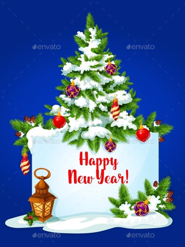 New Year Pine Tree Greeting Card