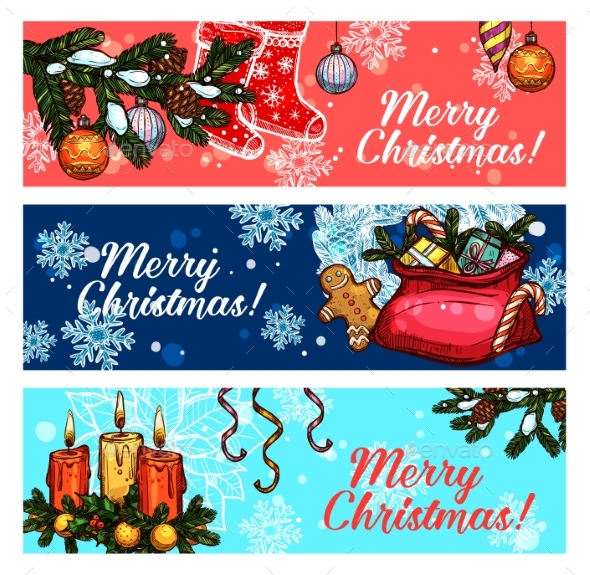 Christmas and New Year Festive Banner Set